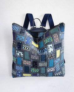 great way of using up fabric -  patchwork backpack