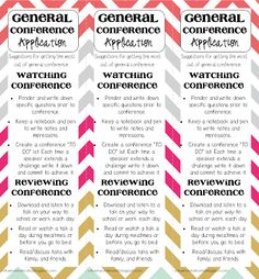 General Conference bookmark - Keep a bookmark in your Ensign to help you remember to keep reading the conference talks throughout the year!