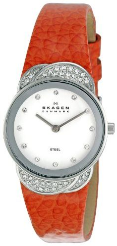 Skagen Womens OrangeWhite Watch * Continue to the product at the image link. (This is an affiliate link) Skagen Watches, Discount Watches, Teal Yellow, Beautiful Watches, Shades Of Black, Stainless Steel Watch, Brown And Grey, Quartz, Crystals