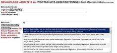 Neuauflage Jahr 2013: Wortschatz-Uebersetzungen Mechatronik edv