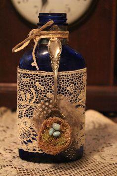 Vintage Blue Eggs Bottle. $20.00, via Etsy.