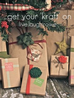 Kraft wrapping paper inspiration with livelaughrowe.com #kraftpaper #wrapping #crafts
