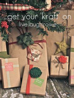 Kraft wrapping paper inspiration with livelaughrowe.com