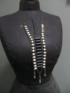 Black and white Stone Tribal bib necklace