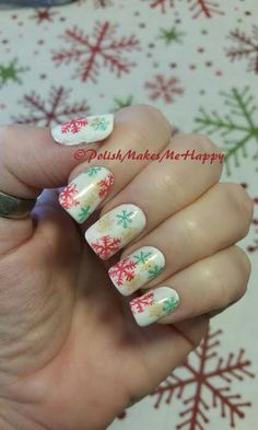 I didn't realize that my tablecloth had made such an impression on me! Seriously, as I was doing this manicure, I never gave it a thought, that the mani matched the tablecloth! HAHA  #snowflakes #christmas #manicure