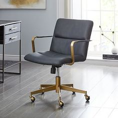Cooper Mid-Century Office Chair, Leather, Old Saddle Nut at .- Cooper Mid-Century Office Chair, Leather, Old Saddle Nut at West Elm – Office Furniture – Desk Chairs – Seating Furniture 76244 Info: 7885096734 - Used Office Chairs, Luxury Office Chairs, Office Chair Without Wheels, Swivel Office Chair, Home Office Chairs, West Elm, Home Office Furniture Desk, Furniture Ads, Small Furniture