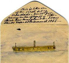 EYEWITNESS DRAWING IRONCLAD WARSHIP CRIMEAN WAR 1855