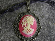 Hand Crafted Day of the Dead Cameo Necklace Victorian Gothic Lolita Skeleton in Bronze Setting by MelancholyMind, on Etsy