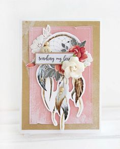'Sending My Love' card by Alena Grinchuk DT for Kaisercraft using 'Boho Dreams' collection.