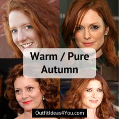"""You're a WarmAutumn! Also known as a """"pure autumn"""" in the 4x4 color system. You are warmand deep. Warm, earthy eyes. Warmhair. Light to Medium skin. Go ahead and download your warmautumncolor palette and order your warmautumncolor fan! And take a look at the warm autumnstyle g"""