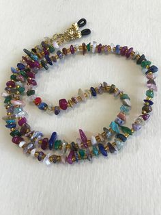 Check out Chip Multi Gemstone Beaded Eyeglass Chain-Sunglass Chain-Eyeglass Holder-Eyeglass Cord-Chain for Glasses-Necklace on heavenlychains Handmade Wire Jewelry, Metal Jewelry, Handmade Necklaces, Mens Beaded Necklaces, Beaded Jewelry, Eyeglass Holder, Necklace Designs, Beautiful Necklaces, Gemstone Beads