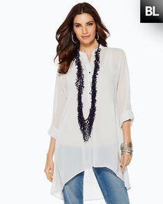 The New Tunic - Chico's. Great white tunic for Summer. Love how many ways this can be styled. #spon #DestinationFabulous