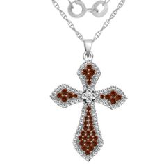 1.00 cttw Diamond & Ruby Cross Pendant in 10K White Gold