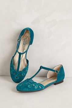 Looped T-Straps #anthropologie  I wish these shoes would fit on my feet. I am a sucker for turquoise and cutouts.