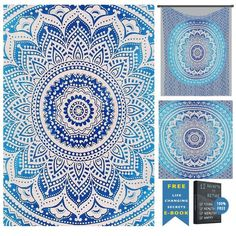 Indian Hippie Ethnic Bohemian Psychedelic Blue Ombre Mandala Handmade Tapestry - A Perfect Gift for all the age groups and it is perfect for both indoor and outdoor use.