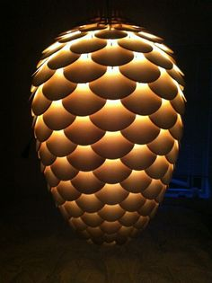 Unique and Beautiful Pendant Lamp in Pinecone Shape – Pinecone Pendant Lamp - The Great Inspiration for Your Building Design - Home, Building, Furniture and Interior Design Ideas Pendant Light Fixtures, Pendant Lamp, Cool Lighting, Lighting Design, Mid Century Modern Lighting, Antique Chandelier, Chandeliers, Paper Light, Wood Lamps