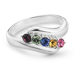 Personalized Sterling Mother's Birthstone Family Rings With Free Keepsake Box with all my babies birth stones