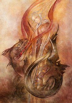 "Sulamith Wulfing | The Dragon Sulamith Wulfing 10.5""X15"" print on canvas $65.00"