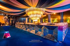 A total of over square feet was draped in 'made to order' Jaipur blue velvet . Wedding Stage Design, Wedding Set Up, Wedding 2017, Luxury Wedding, Wedding Centerpieces, Wedding Decorations, Decor Wedding, Bar Set Up, Lounge Decor