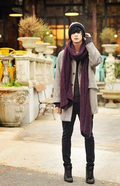 nice Won Jong Jin Love the scarf texture...                                                                                                                                                                                 More