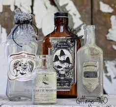 Altered Halloween Bottles