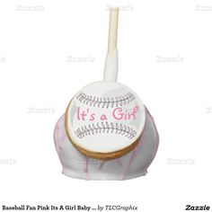 Baseball Fan Pink Its A Girl Baby Shower Round Cake Pops
