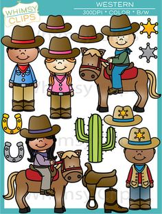 The Western clip art set is a fun theme set that includes cowboys and cowgirls. This set contains 39 image files, which includes 21 color images and 18 black & white images in png. All images are 300dpi for better scaling and printing.