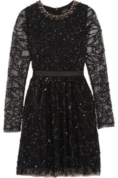 Needle & Thread | Crystal and sequin-embellished tulle mini dress | NET-A-PORTER.COM