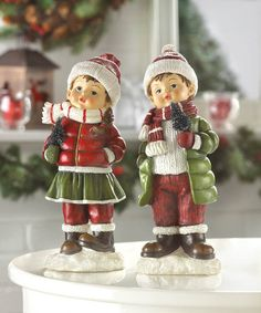 Holly and Noel have been in the woods in search of the perfect tree to bring home! Dressed in holiday colors and holding miniature evergreens, these precious figurines will fill your home with winter cheer. Holly: x x high; Noel: x x high. Little Christmas Trees, Christmas Items, Country Christmas, Christmas Home, Christmas Holidays, Christmas Decorations, Holiday Decor, Winter Holiday, Christmas Shopping