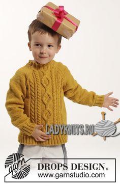 Свитер реглан спицами Lucky Jack («Счастливчик Джек» ) от Дропс для мальчика от 2 до 10 лет