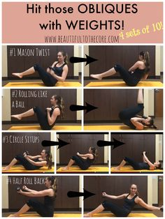 Obliques with weight home workout! Try it out! And get more free printable workouts at www.BeautifultotheCore.com!