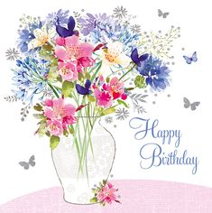 80th Birthday Cards, Happy Birthday Greeting Card, Happy Birthday Messages, Birthday Stuff, Birthday Ideas, Happy Birthday Bouquet, Greeting Card Companies, Beautiful Bouquet Of Flowers, Making Ideas