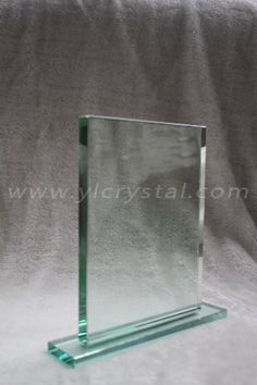 Elegent Clear Knife Blank Glass Crystal Awards Plaque With Stand
