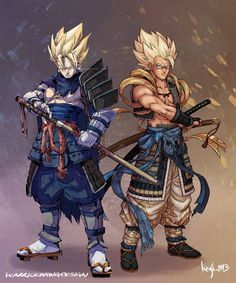 """kenji_893 """"Samurai Vegetto & Gogeta"""" Collaboration with @warrickwongdesign, he is an amazing artist and a really cool dude, so make sure to go and follow him!!! Vegetto: @warrickwongdesign Gogeta: @kenji_893 (me) Nerd Art, Samurai, Zelda, Fictional Characters, Geek Art, Fantasy Characters, The Legend Of Zelda"""