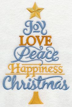 Joy Love Peace Christmas Tree design (K6205) from www.Emblibrary.com