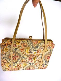 Floral  Brocade Handbag Rust, Taupe, Gold.