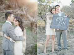 Stylish engagement with decorative chalkboard lettering save-the-date
