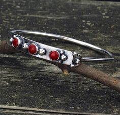 Rustic Red Coral Sterling Silver Bangle Bracelet