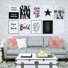 Grey and White Brick Removable Wallpaper Teen Lounge Rooms, Teen Hangout Room, Girl Apartment Decor, Single Girl Apartment, Girls Bedroom, Bedroom Decor, Bedrooms, Bedroom Inspo, Bedroom Ideas
