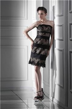 Fabulous Lace Sheath/Column Strapless Knee-Length Alina's Mother of the Bride Dress EF28939