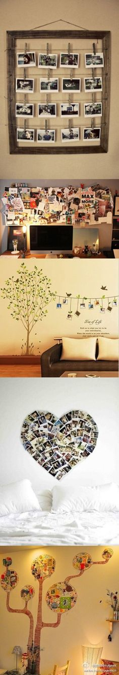 I like the one with the tree painted on the wall, then hand a rope to hang changeable pictures. DIY decorating your wall - these would be cute in dorm rooms! Diy Wanddekorationen, Decoration Photo, Craft Projects, Projects To Try, Photo Projects, Vibeke Design, Ideias Diy, Photo Displays, Diy Home Decor