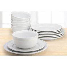 Amelia 12 Piece Solid Color Dinnerware Set Arctic White Home Kitchen Stoneware