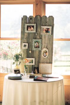 cute rustic photo display table