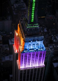 The Empire State Building, lit up in all the colors of the rainbow to celebrate the approval of gay marriage in NEW YORK! Finally, my gay friends and family members are getting the respect and rights that the straight community has!