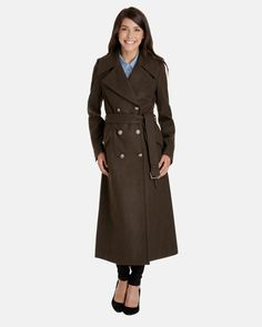 7340c33e591ef The Whitney Full Length Double-Breasted Wool Trench Coat features a  buttoned storm flap for a sleek