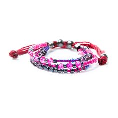 Berry Seed Beads and Crystals Friendship Bracelet