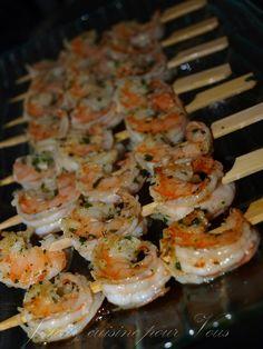 Recette, Brochettes de Crevettes marinées