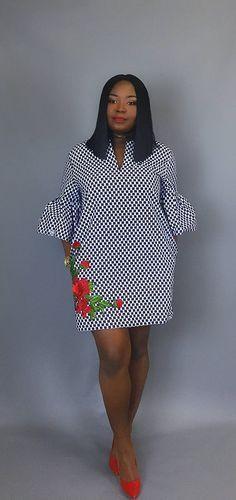 African print handmade shift dress floral dressWax print