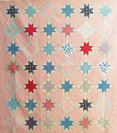Vintage Quilt 1930s OHIO STAR Cotton Novelty Feedsack Cutter Piece or Repair