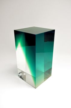 Block B stool/table by Andy Martin, Polyurethane resin both clear and pigmented, 2013